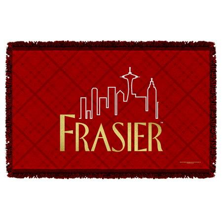 Frasier 1990S Nbc Comedy Spin Off Tv Series Seattle Logo Woven Throw Blanket