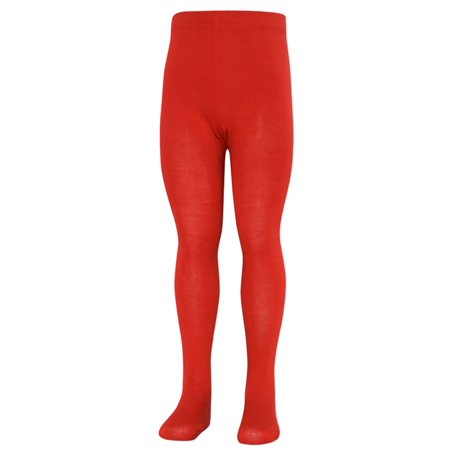 Little Girls Red Opaque High Waisted Stretchy Footed Tights 1-3 (Red Tights)