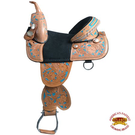 12-13 Child Treeless Horse Saddle Western American Leather Barrel Hilason