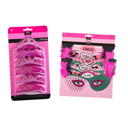Amscan Bachelorette Party Masks (6 Piece), with Bachelorette Mini Tiaras Party Accessory](Bachelorette Tiara)