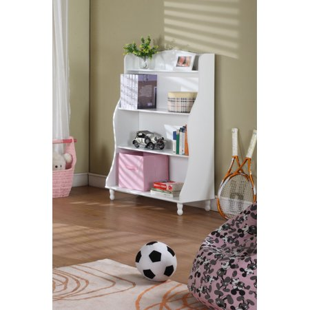 Marie White Wood Kids 4 Tier Tall Bookcase Display Storage Cabinet With Different Sizes Shelves Display Cabinet 4 Tier