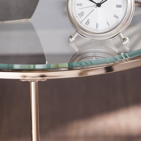 Rambix Glam Round End Table, Gold by Ember Interiors