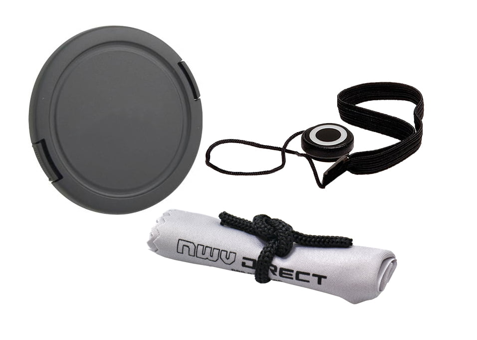 Digital Nc Nikon D40 Lens Cap Center Pinch 58mm + Lens Cap Holder Nwv Direct Microfiber Cleaning Cloth.