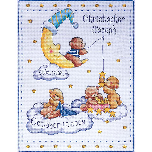 """Bears In Clouds Birth Record Counted Cross Stitch Kit, 11"""" x 14"""", 14-count"""