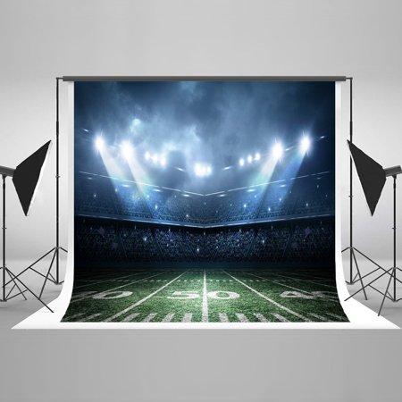 GreenDecor Polyester Fabric 7x5ft Football Field Photography Backdrop Spotlights Custom Photo Studio Props - Custom Made Backdrops