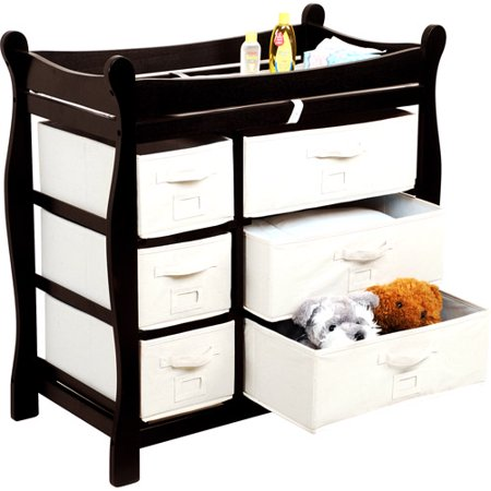 Badger Basket - Changing Table with Six Baskets, Espresso