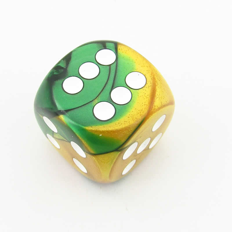 Gold and Green Gemini Die with White Pips D6 30mm (1.18in) Pack of 1 Chessex