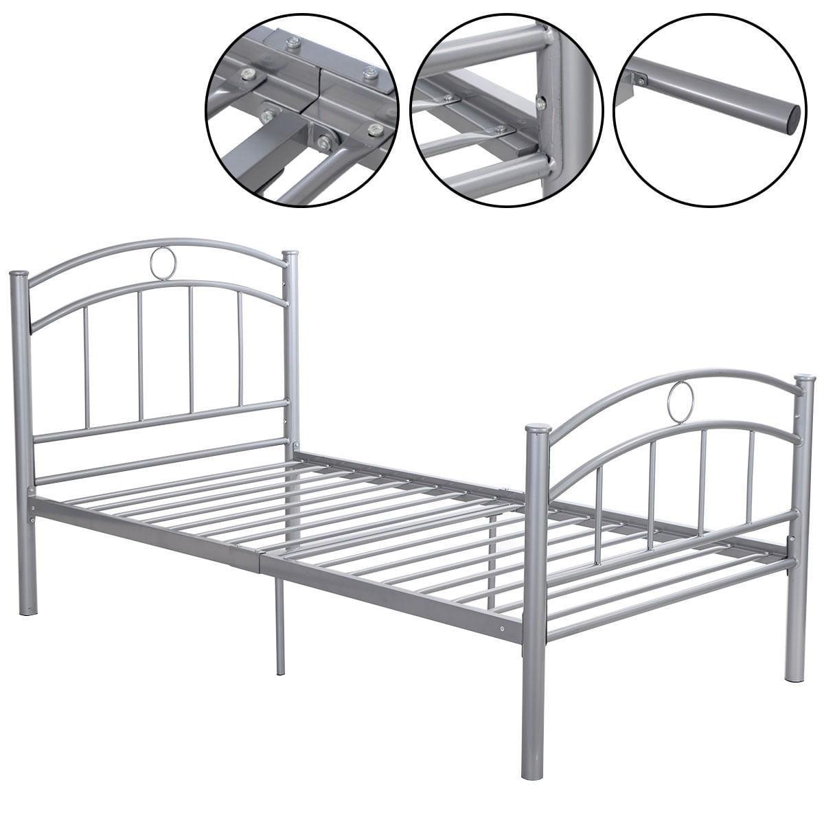"""83""""x42""""x35"""" Sliver Metal Bed Frame Platform Twin Size Bedroom Home Furniture"""