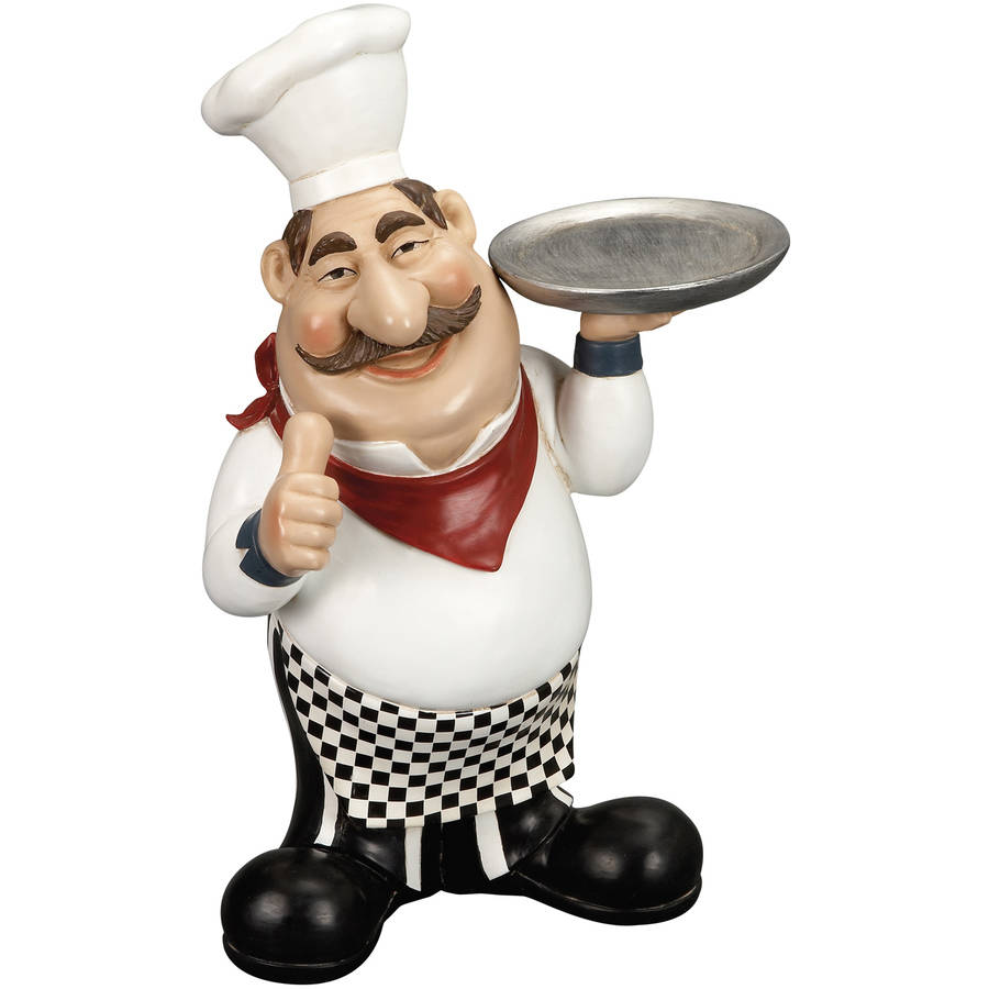 Decmode Polystone Chef with Plate, Multi Color