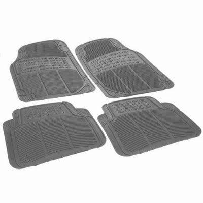 BMW Suv Car Truck Grey Smoke WaterProof Rubber Floor Mats Front & Rear Full Set & BMW Fancy Lanyard Keychain Holder