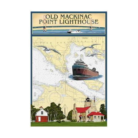 Mackinac Point Lighthouse - Mackinac, Michigan - Old Mackinac Point Lighthouse - Nautical Chart Print Wall Art By Lantern Press
