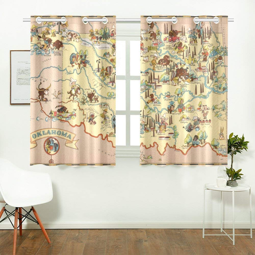 CADecor Vintage 1935 Oklahoma State Map Window Treatment Panel Curtains Window Curtain Kitchen Curtain,Two Piece 26x39 Inces
