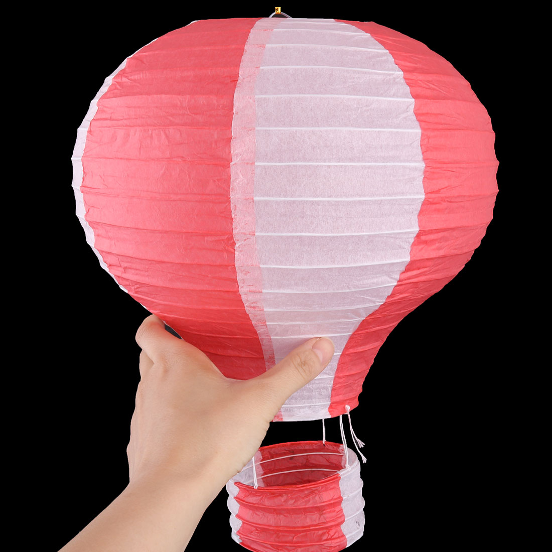 Paper Lightless Hanging Decor Hot Air Balloon Lantern Red White 10 Inch Dia - image 4 de 6