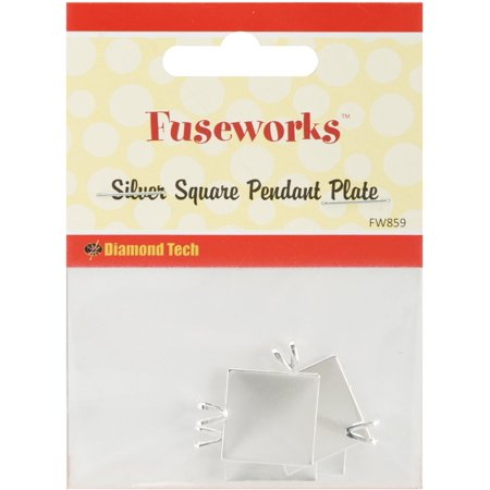 Fused Silica Glass (Silver Square Pendant Plate, 4-Pack, Create handcrafted pendants from fused glass By Fuseworks From USA )