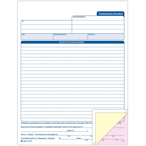 Adams Contractors Invoice Book by TOPS Products