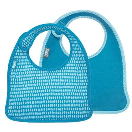 - Built 2 Piece Mess Mate Infant Bib - Dribble Dots, Blue