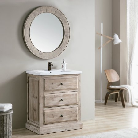 Infurniture Rustic Style 30 Inch Single Sink Bathroom Vanity With Matching Wall Mirror Large