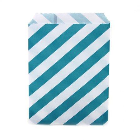 Dress My Cupcake 24-Pack Party Favor Bags, Striped, Aqua