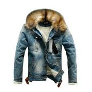 HCgsss Men's Thicken Fur Neck Denim Long Sleeve Jacket Coat