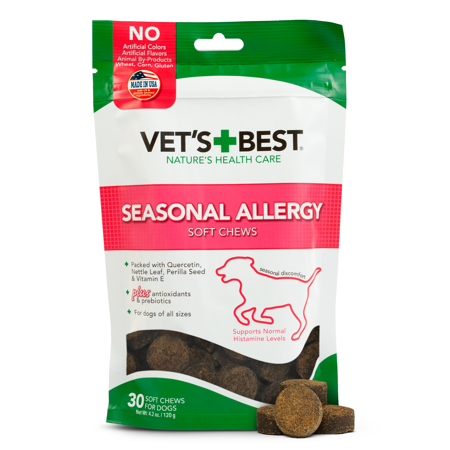 Vet's Best Seasonal Allergy Soft Chew Dog Supplements | Soothes Dogs Skin Irritation Due to Seasonal Allergies | 30 Day (Best Probiotics For Dog Skin Allergies)