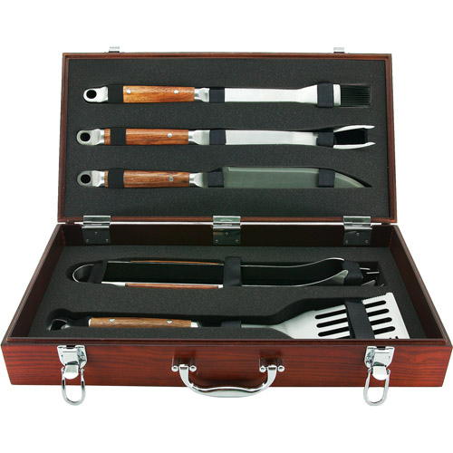 Mr. BBQ 5-Piece Rosewood Handled Grilling Set in Wood Case