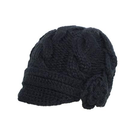 Women's Hand Knitted Beanie Newsboy Hat with Visor, 1128_Black Womens Visor Beanie