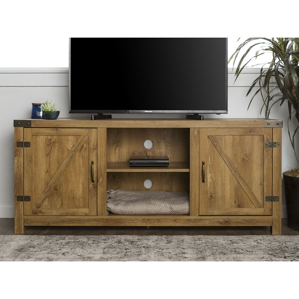 """Manor Park Modern Farmhouse Barn Door TV Stand for TVs up to 64"""" - Barnwood"""