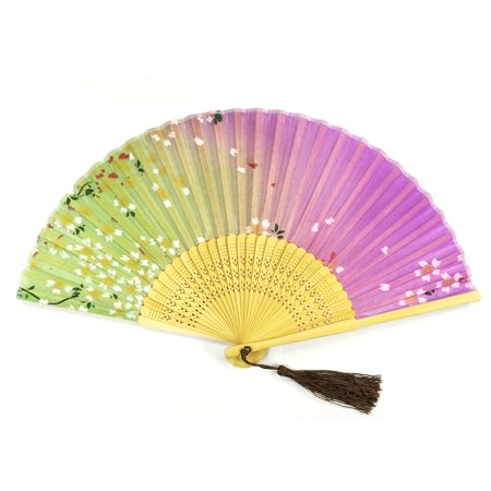 Cherry Blossom Sleeve (Wrapables® Silk Handheld Folding Fan with Tassel and Protective Sleeve, Pink and Green with Cherry Blossoms )
