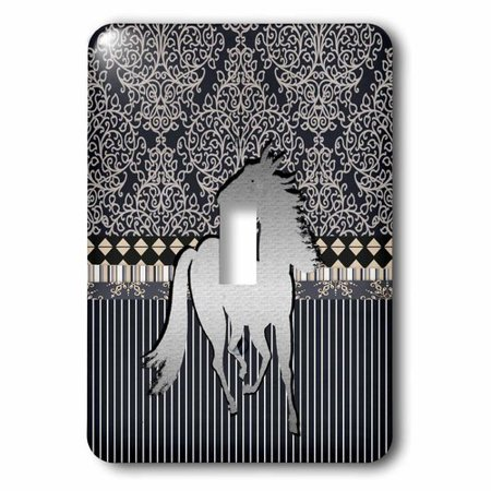 3dRose Horse Running on Damask Striped Design, Silver, Black, and Tan Color, Single Toggle - Running Horse Light Switch