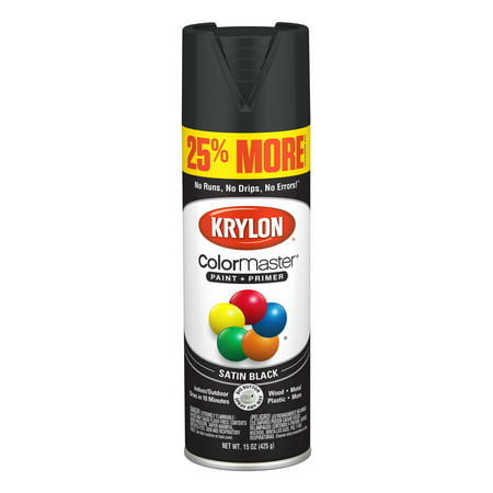 Krylon® ColorMaster Paint + Primer Satin Black, 15-Oz