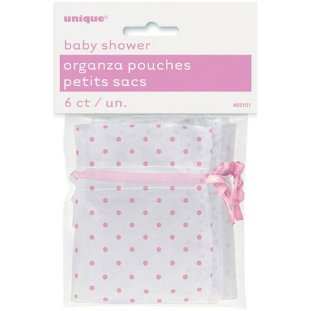 Organza Polka Dot Baby Shower Favor Bags, 4 x 2.75 in, Light Pink, 6ct - Baby Shower Bags