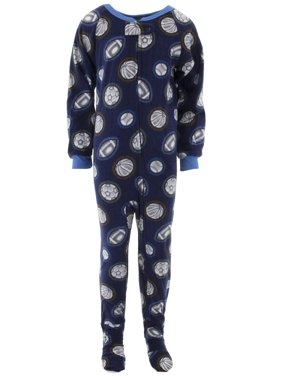 Quad Seven Boys Sports Balls Navy Footed Pajamas