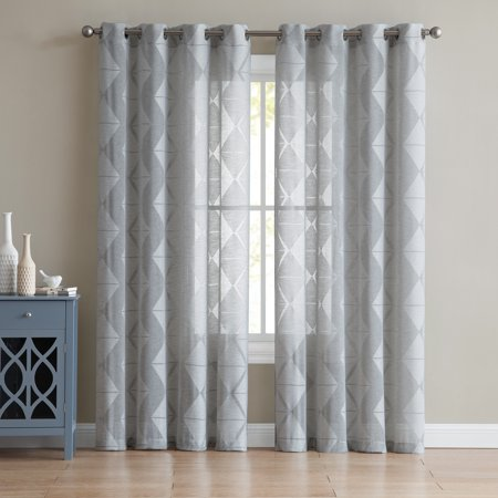 - Mainstays Brody Geometric Burnout Grommet Top Window Curtain Panel, Multiple Sizes and Colors Available