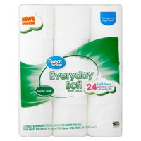 Great Value Everyday Soft 2-Ply Toilet Paper Roll, 24 Count