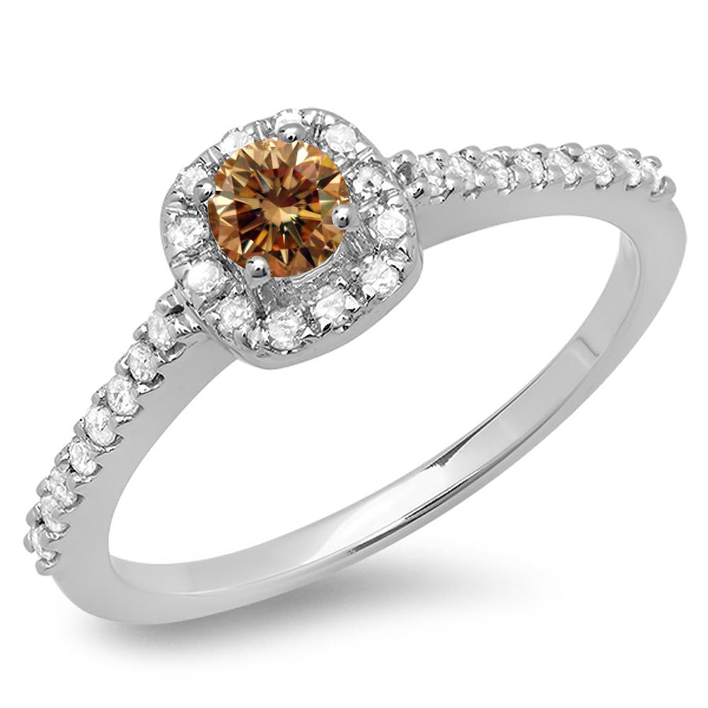 0.50 Carat (ctw) 18K White Gold Round Champagne & White Diamond Ladies Halo Bridal Engagement Ring 1/2 CT