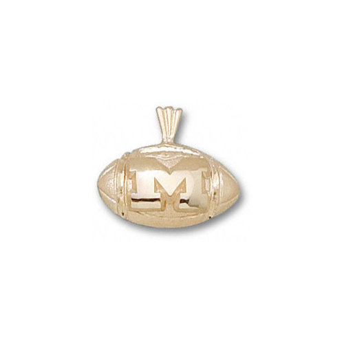 NCAA - Michigan Wolverines 10K Gold ''M'' Football Pendant