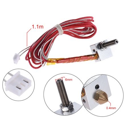 DIY Hot End Kit 0.4mm Nozzle & M6 40mm Extruder Throat & 12V 40W & NTC 3950 Thermistor & Aluminum Block for RapRep i3 Anet A6 A3-S 3D Printer Replacement - image 2 de 6