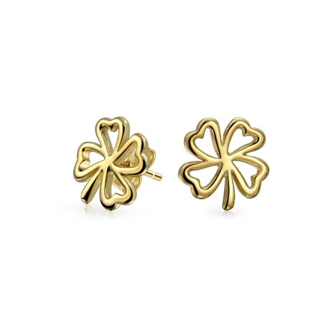 Heart Shaped Four Leaf Clover Lucky Irish Stud Earrings For Women 14K Gold Plated 925 Sterling Silver -