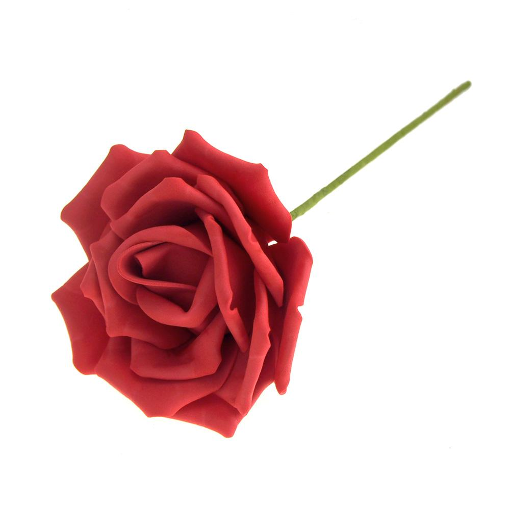 Rose Foam Flower with Stem, Red, 6-Inch