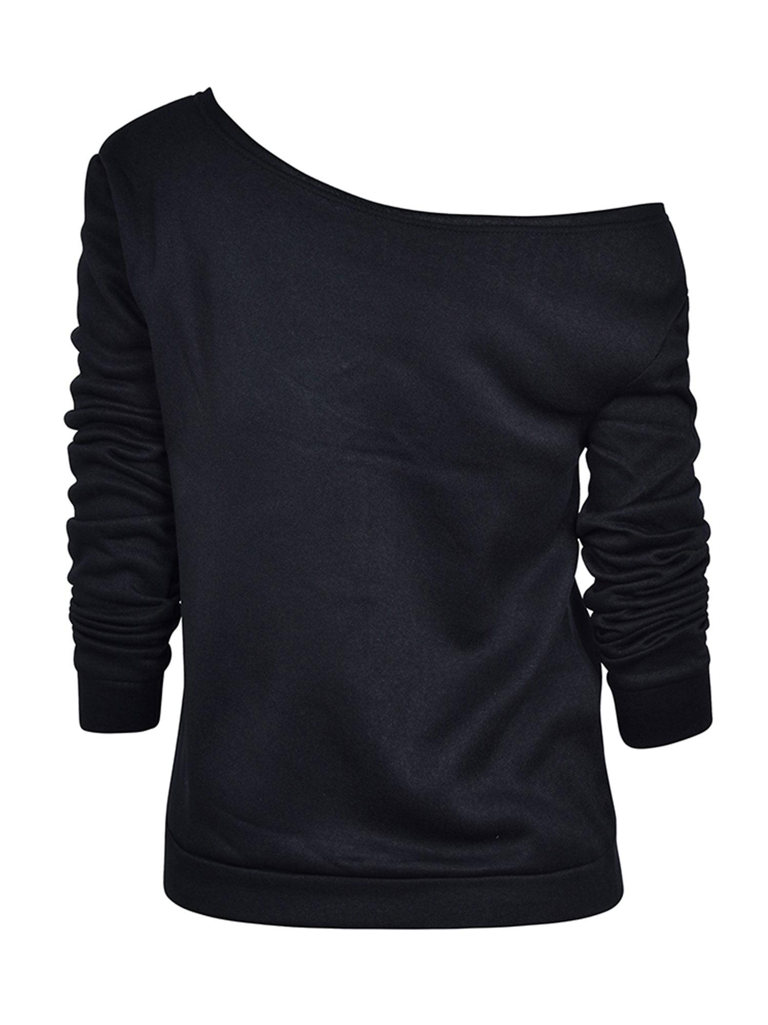 fd69f9f704dd8 HIMONE - Long Sleeve Tops Women Casual Blouse Loose One Off Shoulder Lips  Print T-Shirt Ladies Autumn Baggy Fashion Tee Shirts - Walmart.com