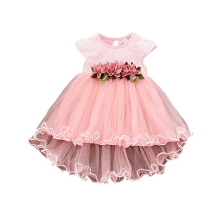 MAXSUN Baby Girls Summer Sleeveless Princess Party Wedding Flower Petal Tutu Dress