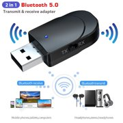 Bluetooth 5.0 Audio Transmitter Receiver, EEEkit Portable Bluetooth Adapter, Turn a Non-Bluetooth Devices Into Transmitter, Receiver, for PC TV Speaker Home/Car Stereo Sound System