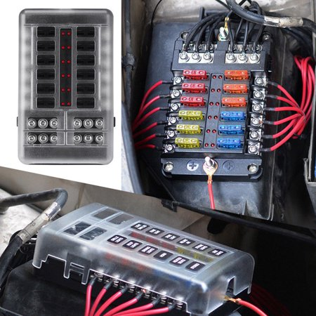 12 Blade Fuse Box Car Bus Fuse Kit With Cover Fuse Box ()