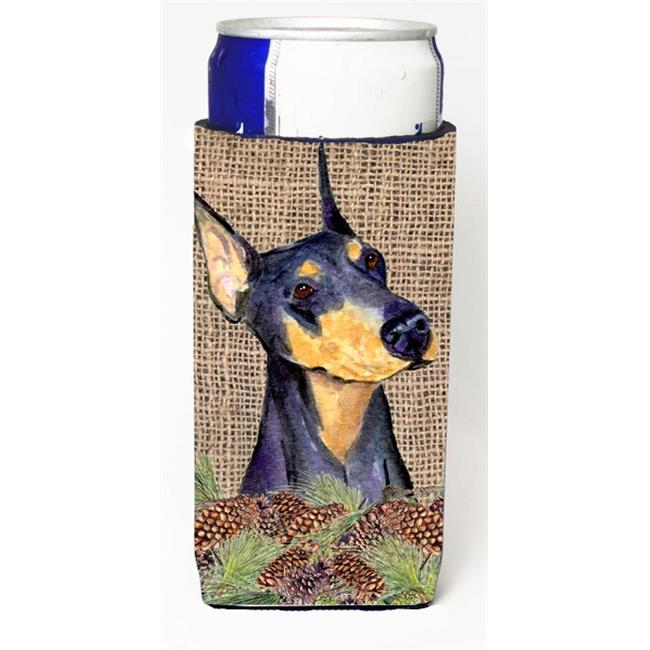 Doberman on Faux Burlap with Pine Cones Michelob Ultra bottle sleeves for slim cans 12 oz. - image 1 de 1