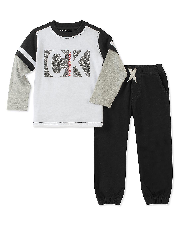 Little Boy's Two-Piece Crewneck Top and Jogger Pants Set