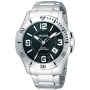 Pulsar Mens Analog Stainless Watch - Silver Bracelet - Black Dial - PXH997