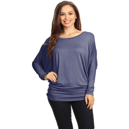 Womens Boat Neck 3/4 Dolman Sleeve Basic Top Regular & Plus Size Made in USA