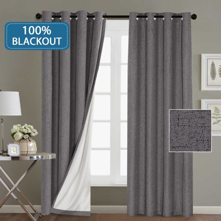 100% Blackout Linen Look Waterproof Grey Curtains for Bedroom Blackout  Drapes 96 inches Long Grommet Window Treatment Curtain Draperies, 2 Panels