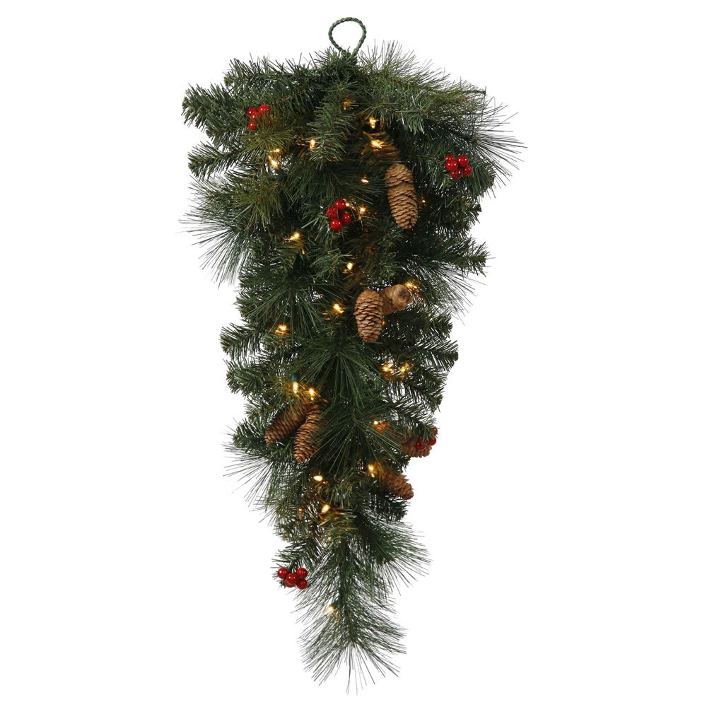 """30"""" Pre-Lit Mixed Pine Berry and Pine Cone Artificial Christmas Teardrop Swag - Clear Lights"""
