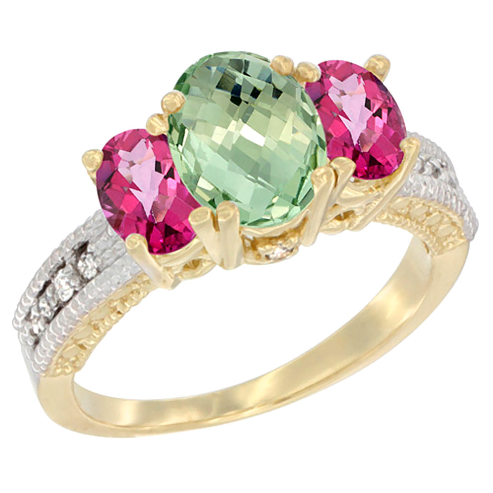 10K Yellow Gold Diamond Natural Green Amethyst Ring Oval 3-stone with Pink Topaz, sizes 5 10 by WorldJewels